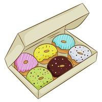 A collection of colorful glazed doughnuts in a box, isolated on a white background. Vector illustration in cartoon flat style.