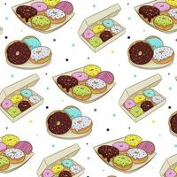 Seamless pattern of colorful donuts in icing, isolated on a white background. Vector illustration in cartoon flat style.