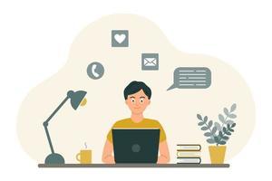 The guy at the desk looks at the laptop screen. The concept of online learning, communication by video, in chats and by mail. Vector image in a flat cartoon style