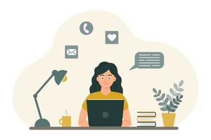 The girl at the desk looks at the laptop screen. The concept of online learning, communication by video, in chats and by mail. Vector image in a flat cartoon style