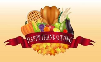 happy thanksgiving celebration with foods and fruits vector