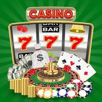 casino with slot machine, card game and roulette chips vector