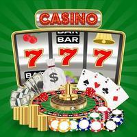 casino con máquinas tragamonedas, juegos de cartas y fichas de ruleta vector