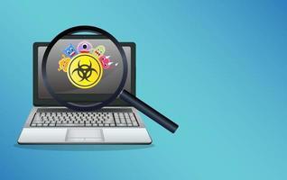 computadora portátil infectada por virus vector