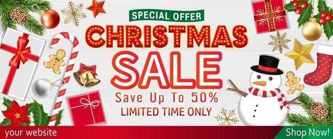 venta de feliz navidad con cartel de objetos de vista superior vector