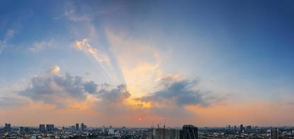Panoramic view of Bangkok, Thailand at sunset photo