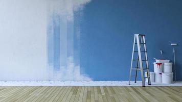 Representación 3D de la imagen de la pared de pintura azul en una habitación vacía foto