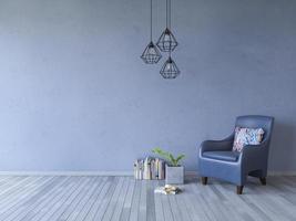 Representación 3ds de sillón sobre piso de madera foto