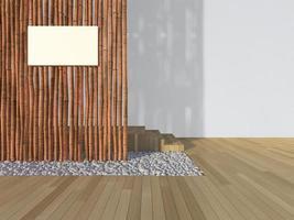 Imagen de representación 3D de signo en la pared de bambú foto