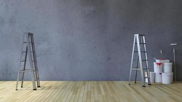 Herramientas de pintura y pared en blanco 3ds foto