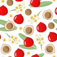 Vector cartoon seamless pattern with Desert Quandong exotic fruits, flowers and leafs on white background