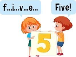 Cartoon character of two kids spelling the number five vector