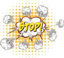 Comic speech bubble with stop text vector