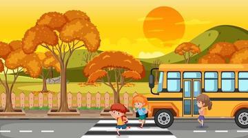 escena de la temporada de otoño con muchos niños bajándose del autobús escolar vector