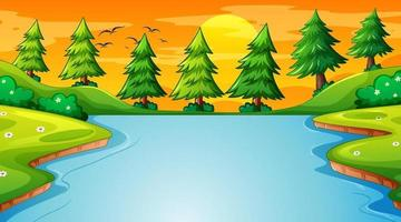 Landscape scene of forest with river and many trees vector