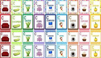 Letter C alphabet flashcard set vector
