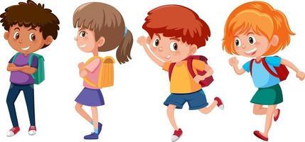 conjunto de diferentes personajes de dibujos animados de niños felices vector
