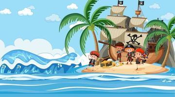 Escena del océano durante el día con niños piratas de pie en la isla del tesoro vector