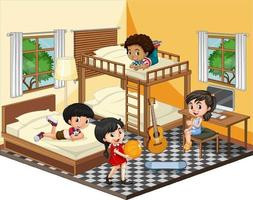 Kids in the bedroom in yellow theme scene on white background vector