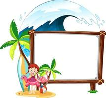 Summer beach theme with blank banner isolated on white background vector