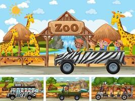 Conjunto de diferentes escenas de safari con animales y personajes de dibujos animados para niños. vector