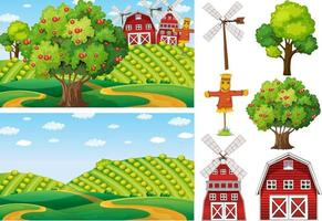 Farm element set isolated with farm scence vector