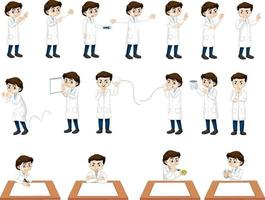 Set of a scientist boy in different poses cartoon character vector
