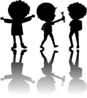 Set of kids silhouette with reflex vector