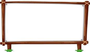 Marco de madera horizontal aislado sobre fondo blanco. vector