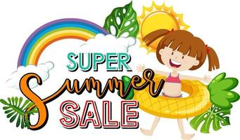 Super Summer Sale banner with a girl and summer elements vector