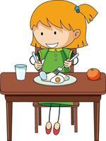 una niña desayunando doodle personaje de dibujos animados aislado vector
