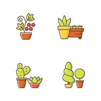Conjunto de iconos de colores rgb de categorías de tienda de jardinería vector