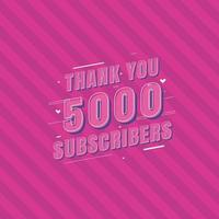 gracias celebración de 5000 suscriptores, tarjeta de felicitación para 5000 suscriptores sociales. vector