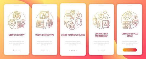Criterios de reglas inteligentes Pantalla de página de la aplicación móvil de incorporación roja con conceptos vector