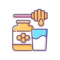 Milk and honey RGB color icon vector