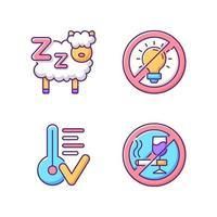 Sleep hygiene RGB color icons set vector