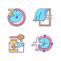 Recommendations to improve sleep RGB color icons set vector