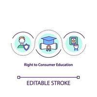 derecho al icono del concepto de educación del consumidor vector