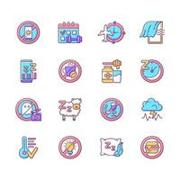Insomnia causes RGB color icons set vector