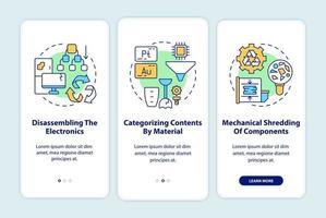 Pasos para el reciclaje de desechos electrónicos Incorporación de la pantalla de la página de la aplicación móvil con conceptos vector