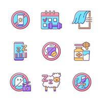 Insomnio razones conjunto de iconos de colores rgb vector