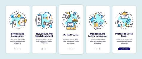 categorías de desechos electrónicos incorporando la pantalla de la página de la aplicación móvil con conceptos vector
