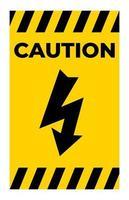 Precaución signo símbolo de alto voltaje aislar sobre fondo blanco. vector