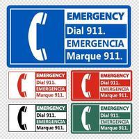 Marcado de emergencia bilingüe 911 firmar sobre fondo transparente vector