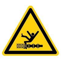 Advertencia que el transportador expuesto y las piezas móviles causarán lesiones en el servicio o signo de símbolo de muerte aislado sobre fondo blanco. vector