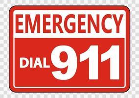 Señal de llamada de emergencia al 911 sobre fondo transparente vector