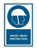 Wear Head Protection Symbol Sign vector