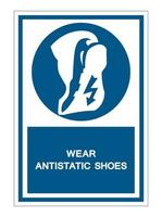 Wear anti static shoes Symbol Sign vector