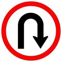U Turn Right Traffic Road Sign vector