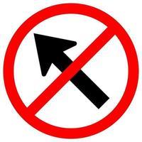 Prohibir ir a la izquierda por la flecha señal de tráfico vector